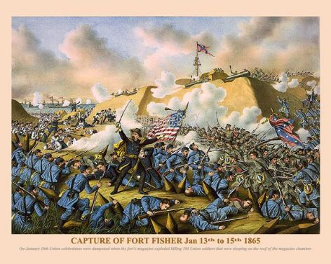 Fine art print of the American Civil War of the Capture of Fort Fisher Jan 13th to 15th 1865